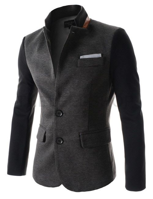 (DJK30-CHARCOAL) Mens Slim China Collar Leather Patched Chest Pocket Deco 3 Button Jacket