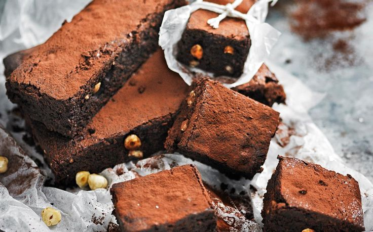 Sugar-free chocolate hazelnut brownies recipe - By Australian Women's Weekly, These rich, dense chocolate brownies rely on dates and rice malt syrup for their guilt-free sweetness.
