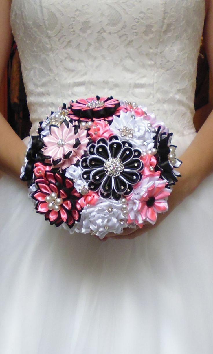 Bridal bouquet handmadecolor. black white pink gift by DeShiko
