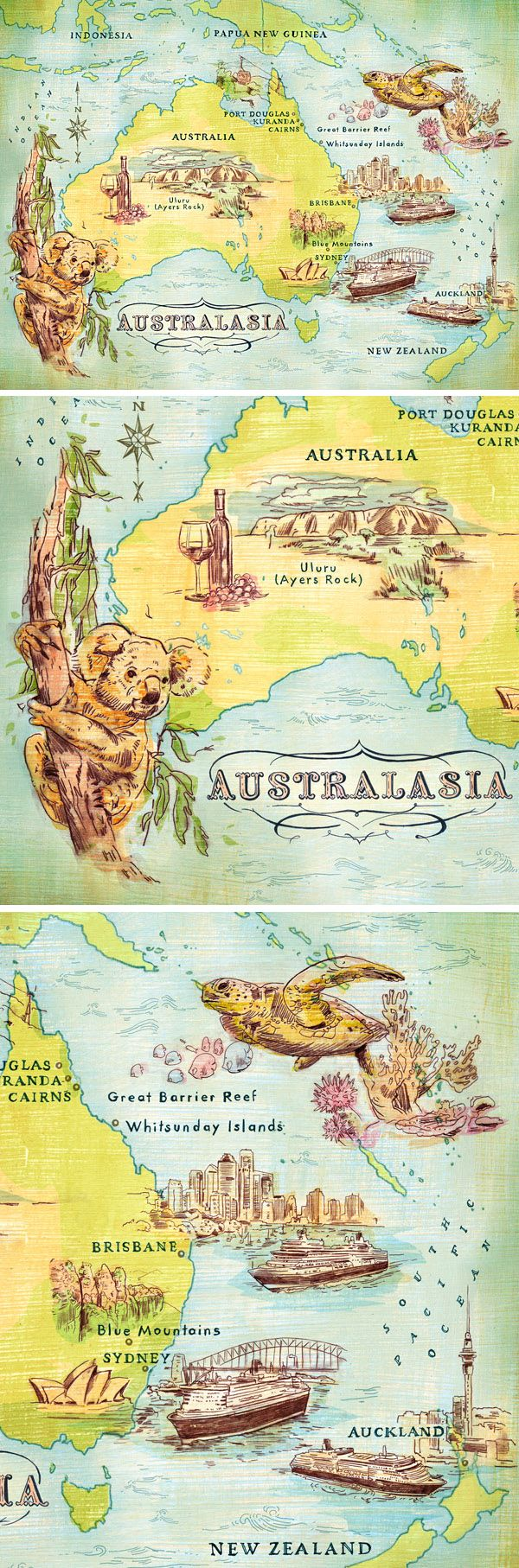 Australasia Map - Jacqui Oakley Illustration