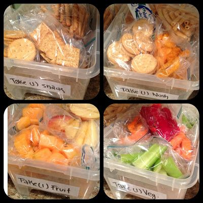 Lunch Box Item Bins!  -Buy bulk items at beginning of week (alternate what items are purchased; follow sales to save money)  -Separate single serving portions in sandwich bags   -Store each labeled bin in cabinet/fridge and let kids select what they are going to eat day-to-day for the week.  Bins pictured:  (1) Nosh - Chips, cookies, bars (2) Snack - Pretzels, crackers, popcorn (3) Fruit - Apple slices, melon, orange, banana,etc. (4) Vegetables - carrots, celery, peppers