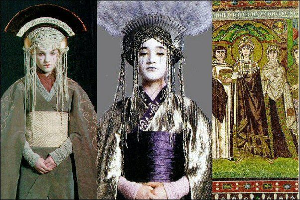 Queen Amidala, Queen Apailana Star wars. their headdresses inspired by Byzantium Impress headdress(Theodora, detail of a Byzantine mosaic in the Basilica of San Vitale, Ravenna). dress inspired by Japanese traditional  kimono