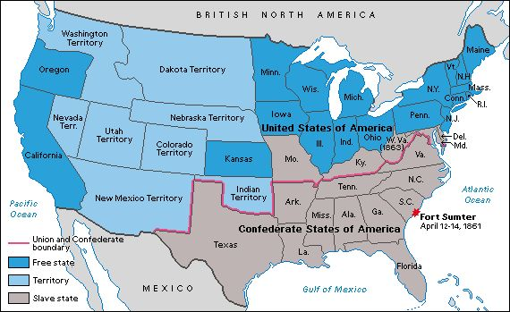 """The alignment of the states during the Civil War, with Missouri, Kentucky, and Maryland """"border states"""" that were held and remained in the Union."""