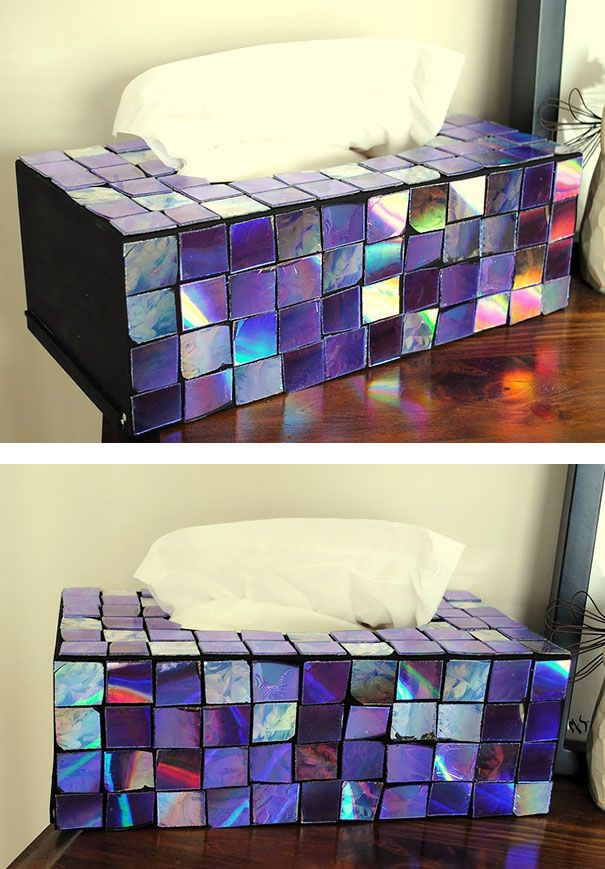 Another great idea, how to reuse CDs, to make average things special and nice - Kleenex Box Decor