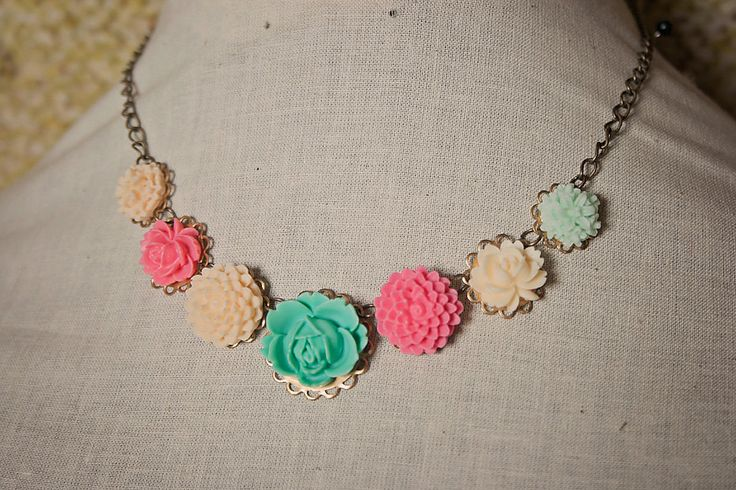 Handmade Flower Bib Necklace Mint Green Rose Necklace Pink Flower Necklace Pink Mint Necklace Resin Rose Necklace by GnidGnadDesigns on Etsy https://www.etsy.com/listing/219291290/handmade-flower-bib-necklace-mint-green