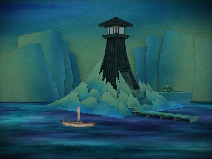 Screenshot from Tengami's ocean level.