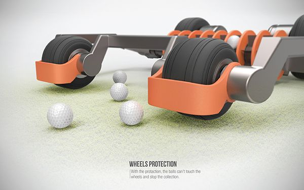Escape Golf Ball Picker. This genius concept is designed to pick up golf balls on a practice surface in an efficient way. Project Director : Alain Gilles #golf #project #concept #robot #automated #gadget #design