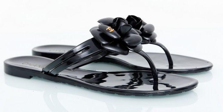 Тапочки CHANEL летние с черным цветком #19184