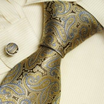 Brown Pattern silk ties for men goldenrod Paisleys mens gifts formalwear silk necktie cuff set A2018 | See more about Paisley, Men Gifts and Cuffs.