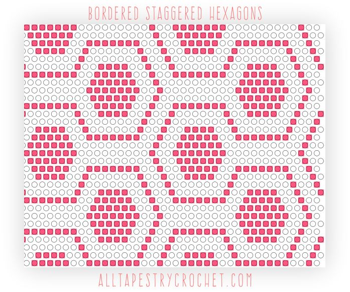 Staggered Bordered Hexagons - Tapestry Crochet Pattern. Find this free pattern and more at AllTapestryCrochet.com