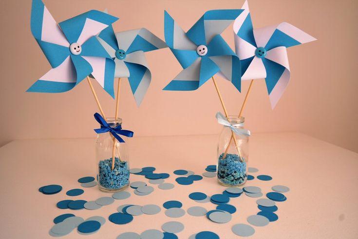 Decorazioni - Set 4 Girandole in cartoncino Tonalità Azzurro - un prodotto unico di PaperLoveFantasy su DaWanda