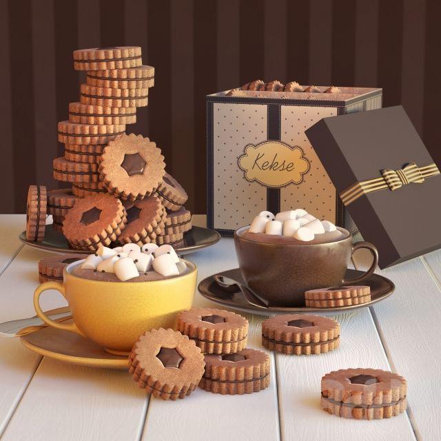 Какао с печеньем