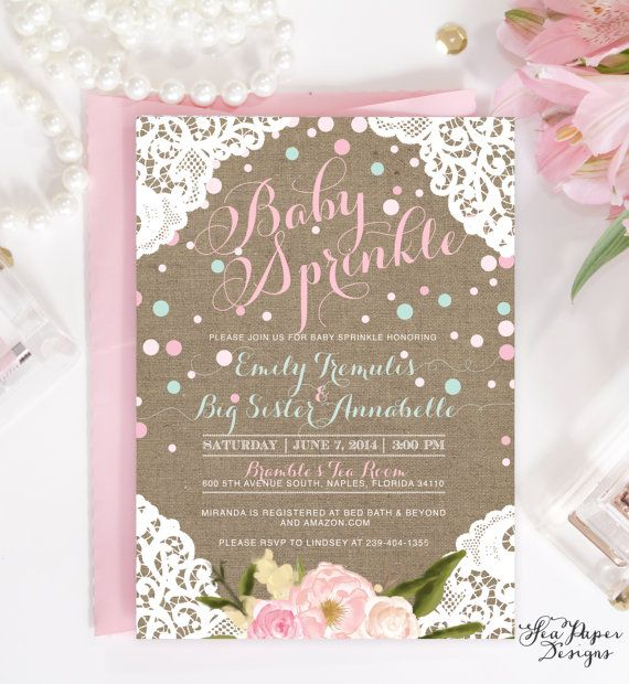 Burlap, Lace & Flowers Baby Girl Sprinkle or Shower Invitation: Shabby Chic Blush Pink and Blue with Confetti Printable Or Printed DIY