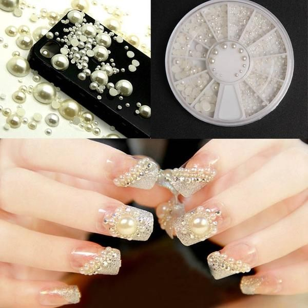 3D Fashion White Nail Art Tips Pearl Acrylic Gem Glitter Manicure DIY Decoration
