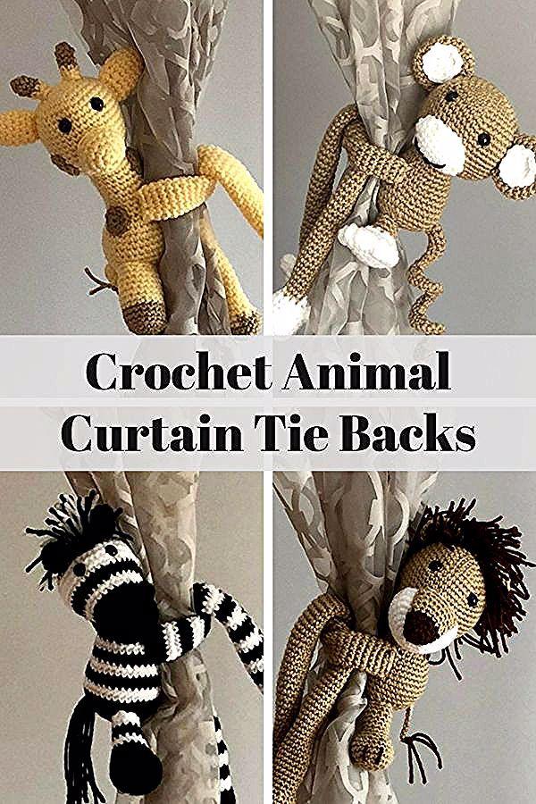 Adorable Crochet Animal Curtain Tie Backs Giraffe Monkey Zebra