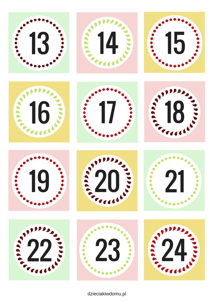 numery do kalendarza adwentowego/ advents calendar numbers