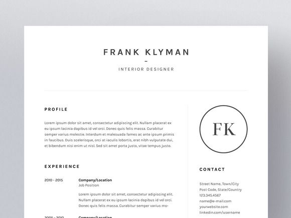 Frank Klyman - Resume/CV Template by Worn Out Media Co. on Creative Market