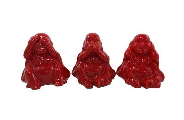 Trio Buda Gordo Vermelho - 8 x 8 x 6 cm