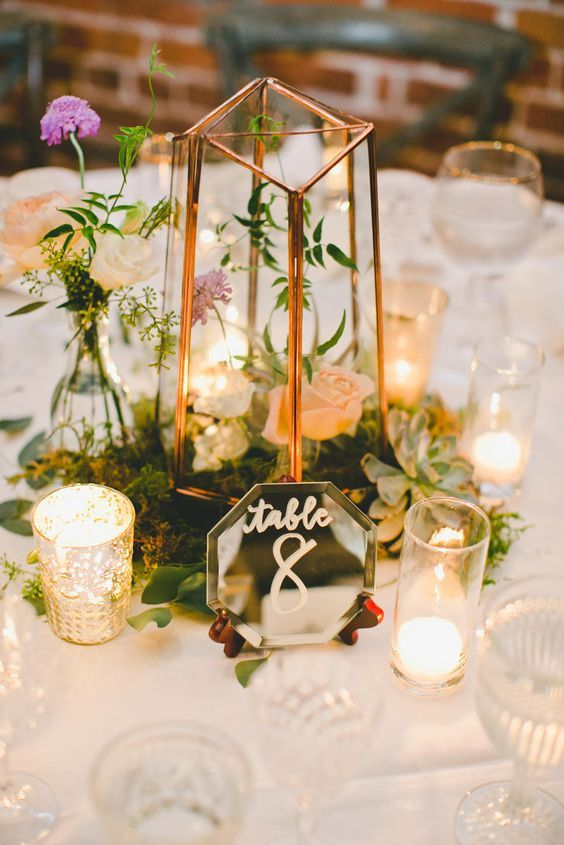 votive candles, gold-caged hurricane vases and moss set inside terrarium centerpieces / http://www.deerpearlflowers.com/terrarium-geometric-details-ideas/2/