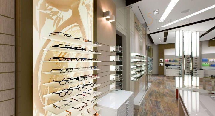 gözlük mağazası cam raf dekorasyonu