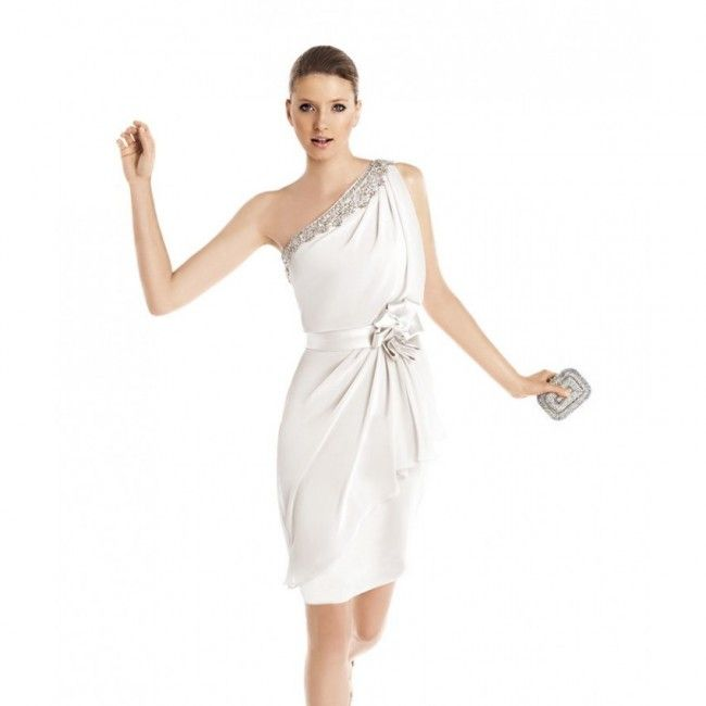 Captivating Chiffon A-line One Shoulder Spring Sleeveless Crystal Detailing Natural Wedding Dresses