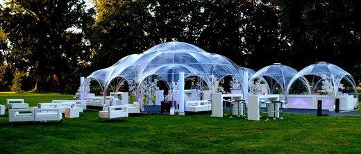 Designer Kuppelzelt - 9 x 9 m - transparent inkl. Seitenwänden - cool, aber teuer