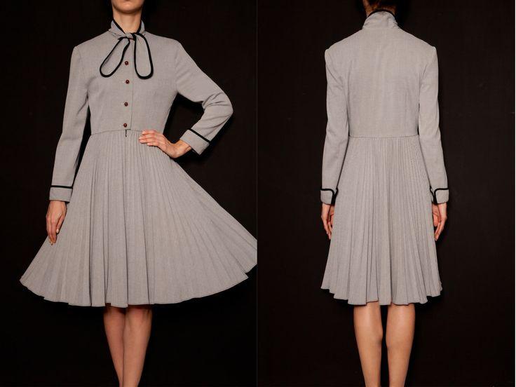Grey Vintage dresses | Long sleeve dress | Pleated | Winter | Bow Tie | Maxi | silver | Evening | Party | Dinner | Tea | Sundress | Wedding by VintageCosmopolitan on Etsy https://www.etsy.com/listing/219101161/grey-vintage-dresses-long-sleeve-dress