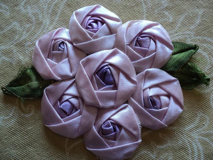 I ❤ ribbonwork . . . 1920s Silk Ribbon Roses Applique 7 lavendar Rosettes with silk leaves applique ribbonwork