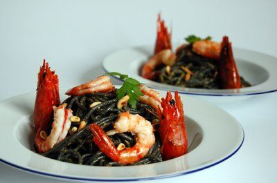Black Spaghetti & Shrimp. This looks like something out of Beetlejuice movie but tastes Awesome! A must for any Halloween party.