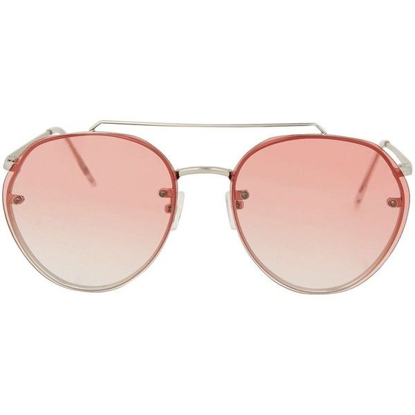 Topshop Small Rimless Aviator Sunglasses ($23) ❤ liked on Polyvore featuring accessories, eyewear, sunglasses, pink, rimless sunglasses, topshop sunglasses, metal aviator sunglasses, rimless glasses and aviator style sunglasses