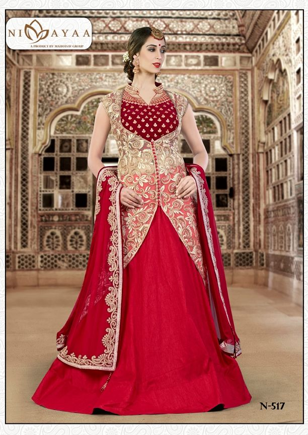 Lehenga Online Shopping / Womens Raw Silk Scarlet Red Lehenga Choli