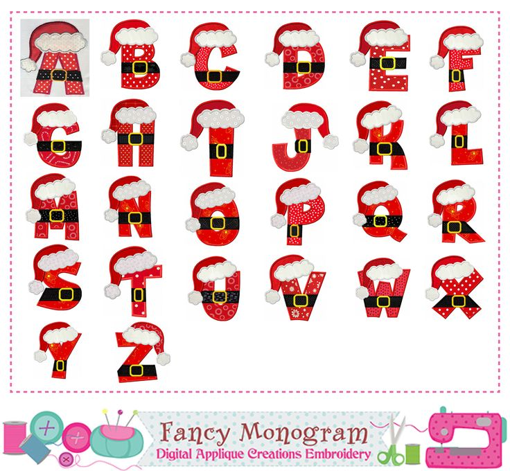 Santa Claus Letters appliqueChristmas Monograms | Etsy