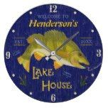 Lake House Rustic Nautical Bass Fish   Custom Name Large Clock  #Bass #Clock #Custom #Fish #House #Lake #Large #name #Nautical #Rustic #RusticClock The Rustic Clock