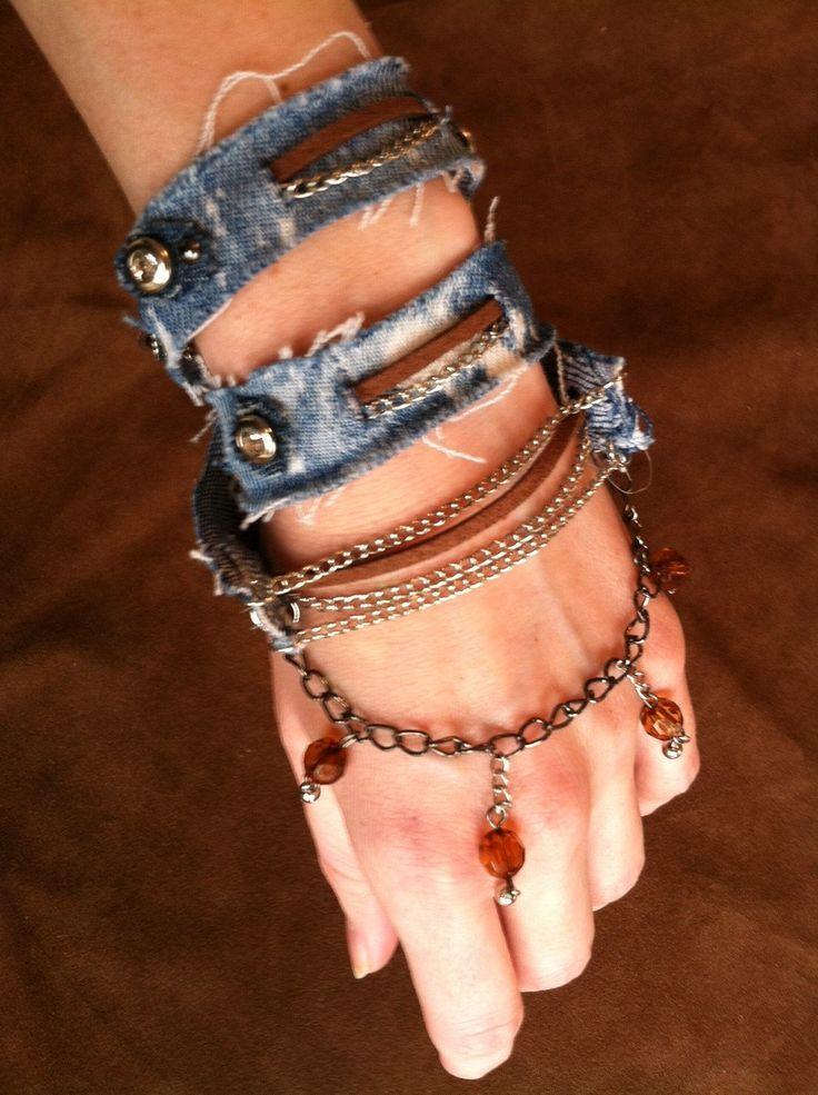 4 piece denim boho jewelry set.. $68.00, via Etsy.