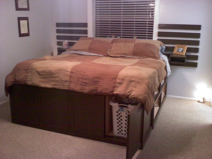 King size Storage Bed - Highly Modified  Make this! Greta's BJ made this one.