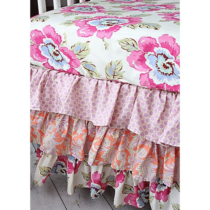 a vivid assortment of blooming botanical and vintage flowers brings the garden to your little girlu0027s room with the caden lane primrose ruffle bedding