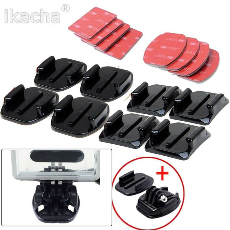 New Arrival 8 pcs Flat Curved Adhesive Mount Helmet Accessories For Gopro Hero 1 2 3 3+ 4 5 Kit