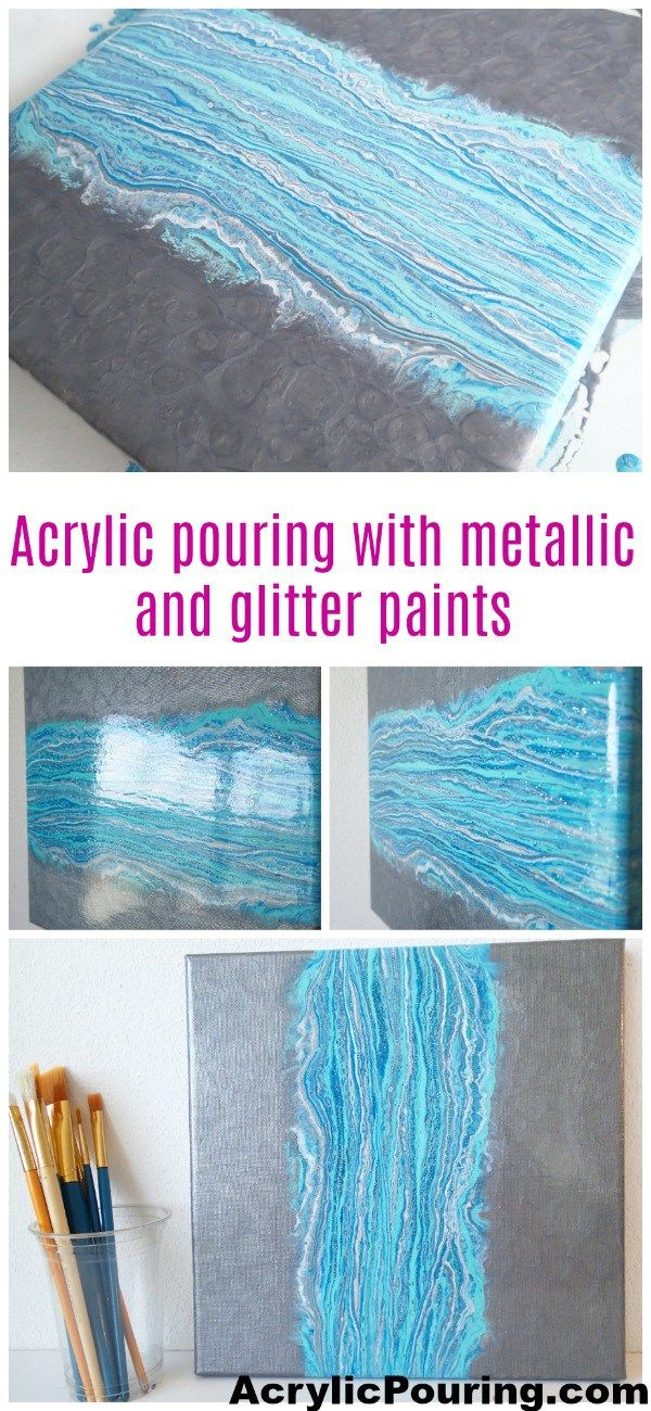 Acrylic pouring dirty pour with metallic and glitter paints, video tutorial.