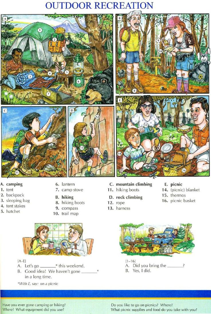 95 - OUTDOOR RECREATION - Picture Dictionary - English Study, explanations, free exercises, speaking, listening, grammar lessons, reading, writing, vocabulary, dictionary and teaching materials