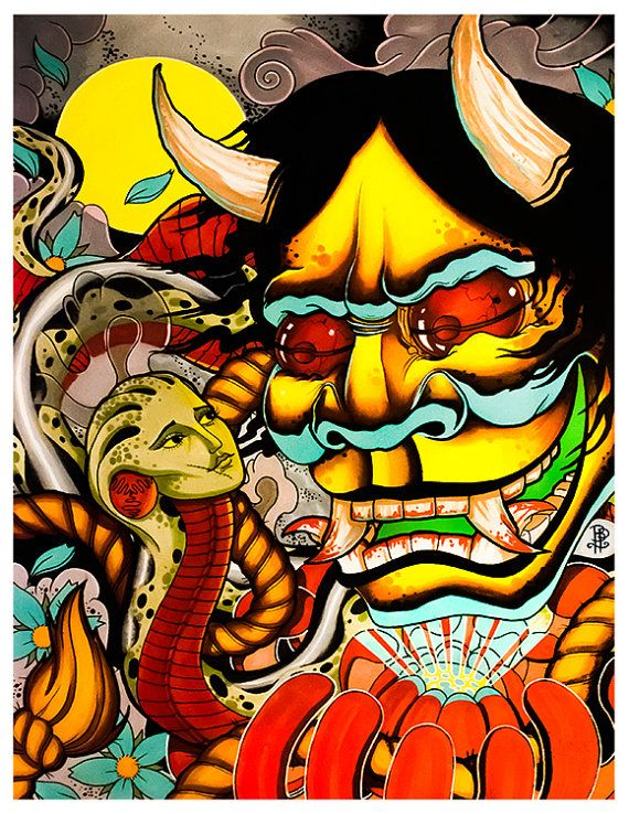 Hannya Mask and a Snake Woman Oriental by ...