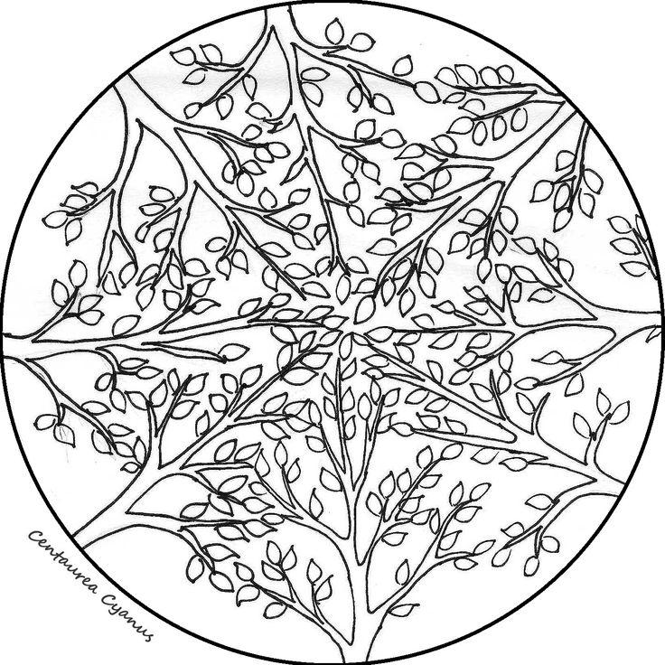 free coloring page by Centaurea Cyanus - mandala - trees
