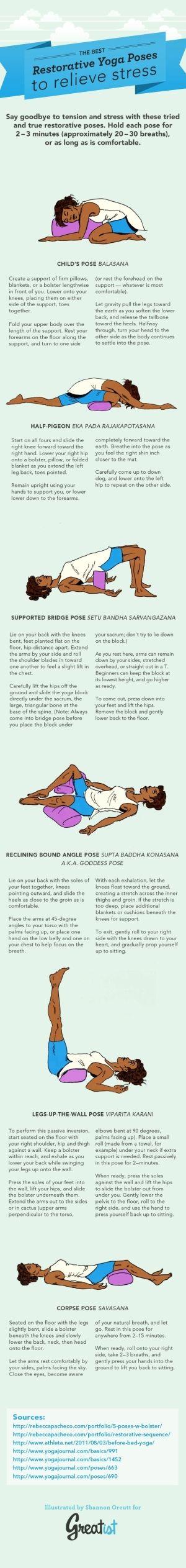 O melhor Yoga Restaurativa Poses para aliviar o stress.  Re-pin, verifique mais tarde.  # Yoga # relaxar genebra