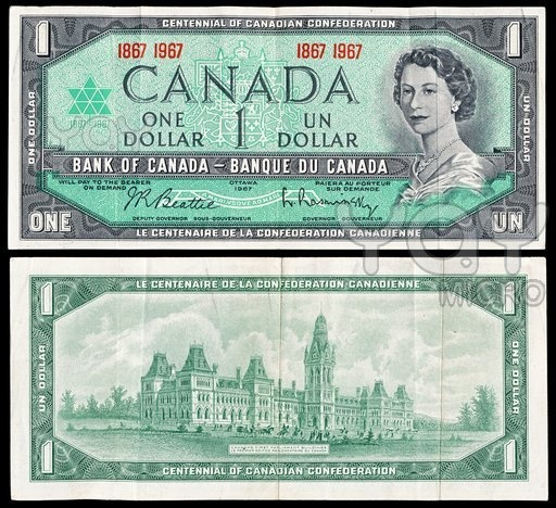 Centennial of Canada Confederation; Bank of Canada One Dollar Bill 1867 - 1967