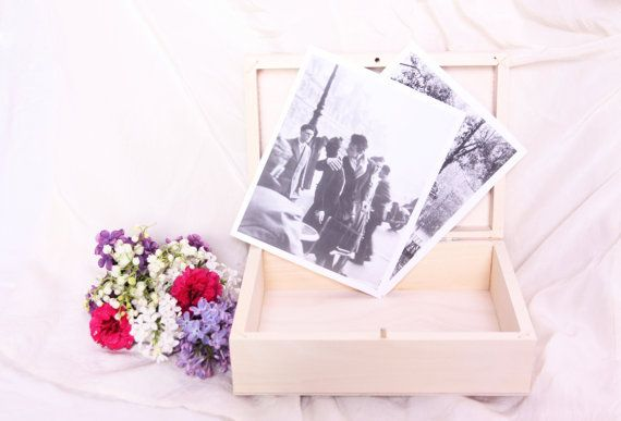 wooden photo box, wedding keepsake storage box treasure chest jewelry gift rustic cottage memory souvenir DIY wedding ideas inspirations eco