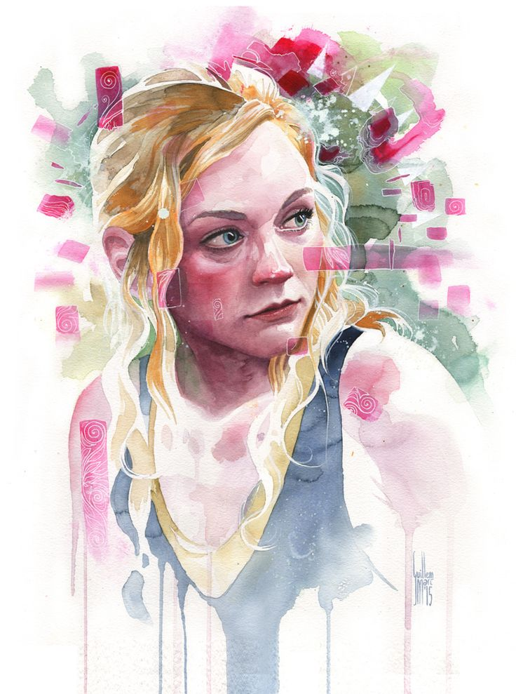 Beth, from 'The Walking Dead'. Watercolor, gouache and acrylic on paper. By Guillem Marí.