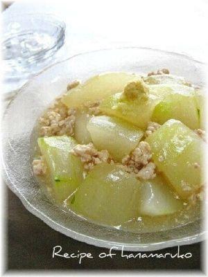 冷やして冷たい冬瓜と鶏ひき肉のそぼろ煮 レシピ・作り方 by はなまる子♪|楽天レシピ