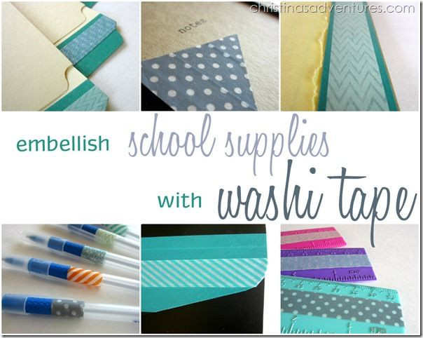 Embellish school or office supplies with washi tape - simple, thrifty, and super cute!