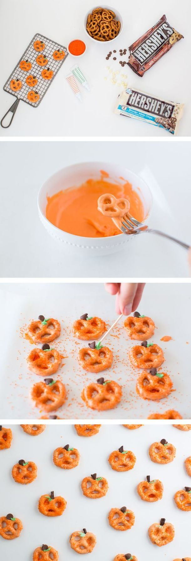 Halloween Party Treats Appetizers and Desserts Recipes - Chocolate Covered Pretzel Pumpkins Recipe via i heart naptime