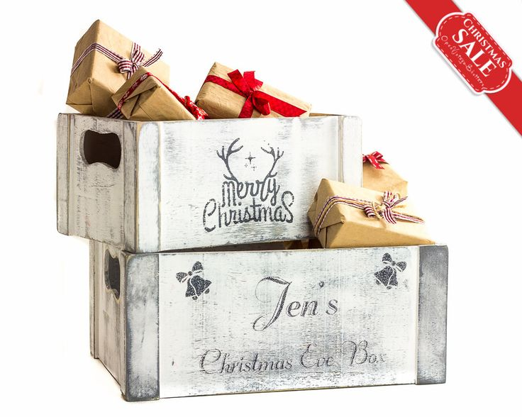 SET 2 Christmas Decorations Personalized Christmas Eve Box, Wooden Crates, Merry Christmas Gifts Keepsake Box, Bells, Reindeer Stocking by OpenVintageShutters on Etsy https://www.etsy.com/listing/254772870/set-2-christmas-decorations-personalized