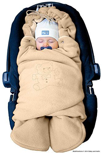 ByBoom - Swaddling Wrap, Car Seat and Pram Blanket for Winter, Universal for infant and child car seats (e.g. Maxi-Cosi, Britax), for a pushchair/stroller, buggy or baby bed; THE ORIGINAL WITH THE BEAR, Color:Beige